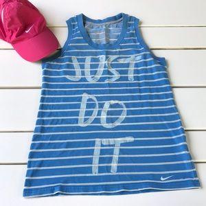 Nike blue & white stripe just do it logo tank top